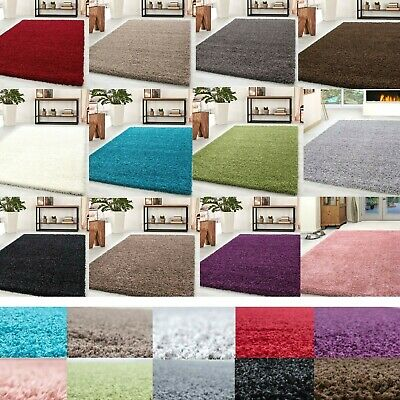 LARGE SHAGGY PLAIN RUG THICK SOFT RUGS ANTI-SHED 5cm PILE HIGH SMALL MODERN SIZE