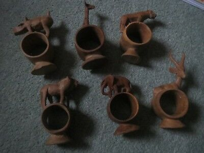 Set of six hand carved African Safari animals napkin rings holders