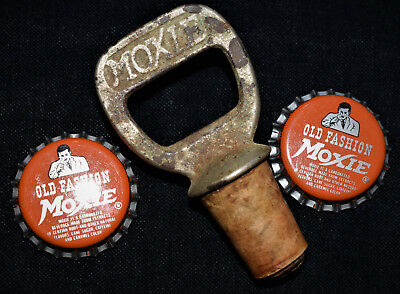 Vintage Metal and Cork Moxie Soda Pop Bottle Opener and Stopper with Two Caps