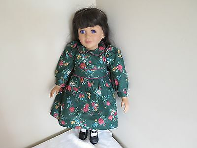 """MY TWINN Catherine 23"""" Doll Purple Eyes White Green Floral Dress Shoes Tights"""