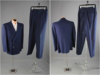Vtg Men's 1940s Double Breasted Blue Suit Jacket sz M Pants 30x30 40s #3710