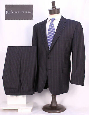 Hickey Freeman 2 Button Suit - Slate Blue Pinstripe - Sz. 46R - Great Color!!!