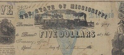"""$5 """"mississippi"""" (Cotton Pledge Note) 1800's (Blue Overprint) Rare Note!! Wow!!"""