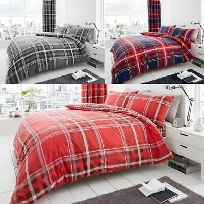 Newton Tartan Check Duvet Covers Quilt Covers Reversible Bedding Sets All Sizes