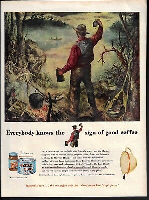 1949 Staehle Art Camping Morning Coffee Maxwell House Print Ad