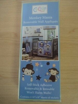 CoCaLo Baby Monkey Mania Removable Self Stick Nursery Wall Decor Blue Brown NWOT
