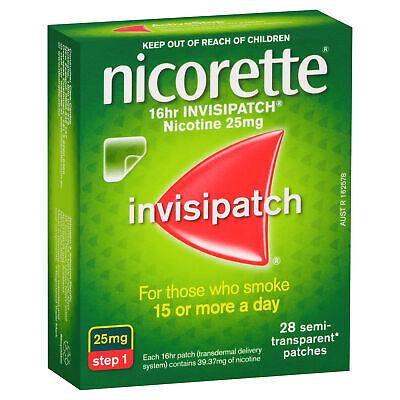 Nicorette 16hr Step Invisipatch Strenght 25mg 28 Patches Releases Nicotine
