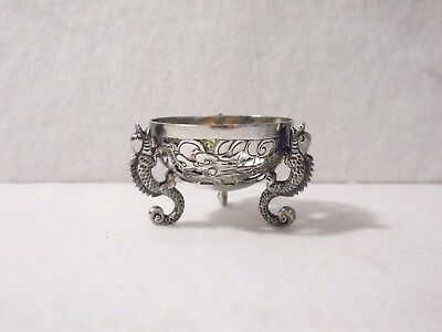 CHINESE EXPORT SILVER SALT CELLAR ~ by KC (Ca.1875) ~ FIGURAL DRAGON BOWL & LEGS