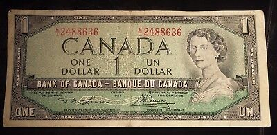 1954 Canada Dollar Bill Banknote clean no writing holes tears Cash Paper Money