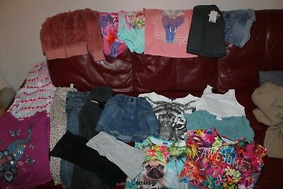 GIRLS LARGE BUNDLE NEXT M&Co JEANS SKIRTS TOPS SWIM SUITS JACKET SIZE 6-7 YEARS