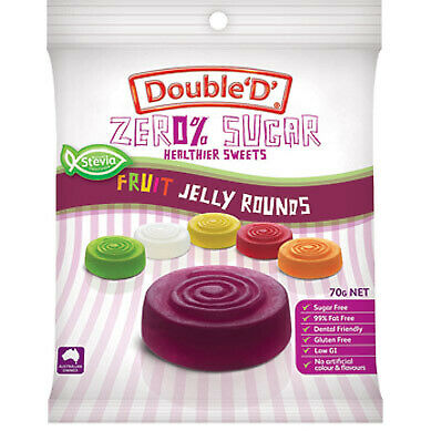 Double 'D' Zero % Sugar Fruit Jelly Rounds 70g