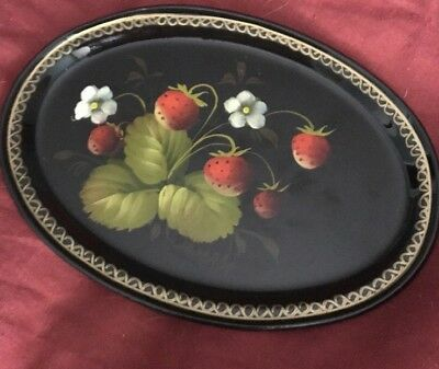 Hand-Painted Vintage Metal Tray Great Detail Strawberries Marked 7""