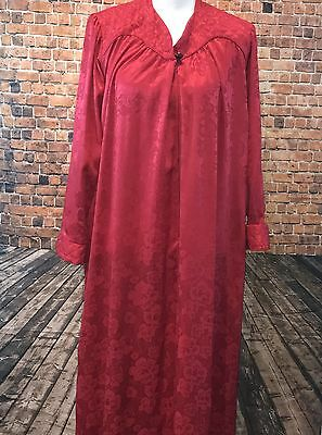 VTG Christian Dior Women's Petite Large RED Floor Length Quilted Nightgown 70's