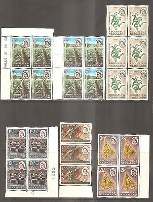British Commonwealth - Mint Blocks of Stamps - Rhodesia & Nyasaland.