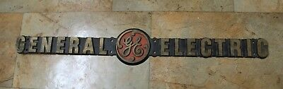 Vintage antique GE General Electric solid brass name plate plaque sign