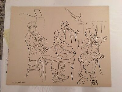 Hannes Bok Original Art - large 11x14 nice/signed and dated 1940 on thick paper-