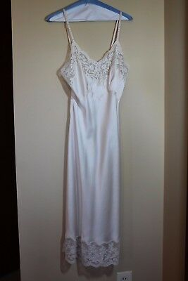 "VTG 50s Heavenly Silk Fischer Slip Lingerie Lace Ivory Cream 47"" EUC #10"