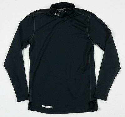 Under Armour UA Mens ColdGear Fitted Mock Black Long Sleeve Shirt Top Small