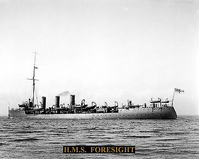 Royal Navy Cruiser Hms Foresight 1904 Photograph  With Technical Sheet