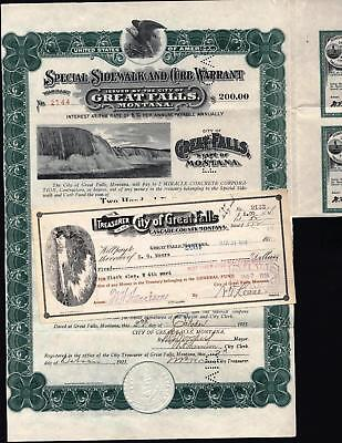 $200 City Of Great Falls, Montana, Sidewalk And Curb Warrant, 1923 With Check