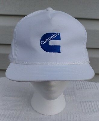 Vintage Dodge Cummins Snapback Hat White Blue Logo 80's 90's Trucks Deisel