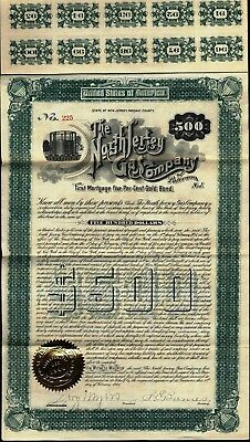 $500 North Jersey Gas Co Gold Bond, 1901 With 94 Coupons