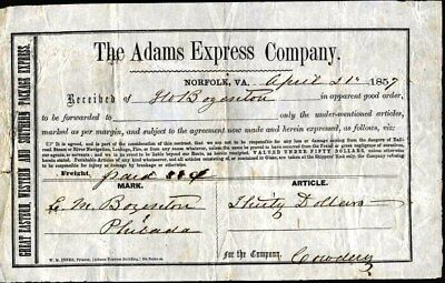 Adams Express Co 1857 Norfolk, Va Way Bill