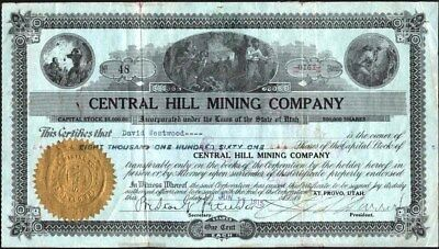 Central Hill Mining Co, Provo, Utah, 1915 Stock Certificate