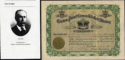 Crown Point Consolidated Mining Co, Provo, Utah, 1908, Signed By Jesse Knight