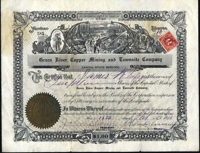 Green River Copper Mining And Townsite Co, 1916, Vernal, Utah Stock Certificate