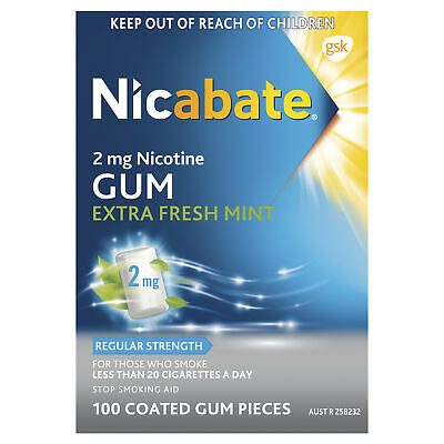 Nicabate 2mg Gum Extra Fresh Mint 2mg 100 Coated Gum Pieces