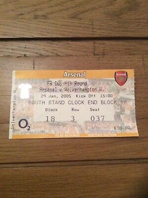 Ticket Arsenal v Wolves Fa Cup 4th Rnd 2005