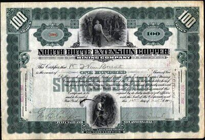 North Butte Extension Copper Mining Co, 1907, Territory Of Arizona Stock Cft.