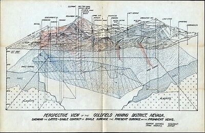 Perspective View Of The Gold Field Mining District, Nevada, One Fold, Mint Cond.