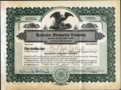 Rochester Steamship Co, Grand Island, Ny, 1925, Uncancelled Stock Certificate
