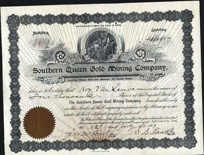 Southern Queen Gold Mining Co, Salt Lake City, Utah, 1899, Uncancelled Stock Cft