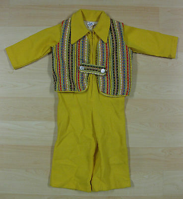 VINTAGE OLD 1970's BOYS GOLD ONE--SIE with COLORFUL VEST PEARL BUTTONS
