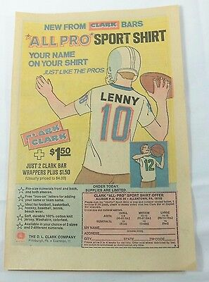 Clark Bars All Pro Sport Shirt - People Patches - Monsters - Comics Ad 1971