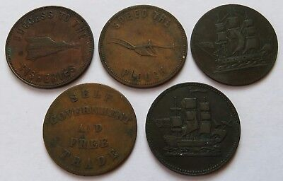 5 Canada Tokens, 1855 PEI, Ships Colonies, Fisheries, Speed The Plough (102004D)