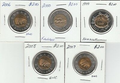 1999, 2000, 2006, 2007 & 2008 Two Dollar Coins