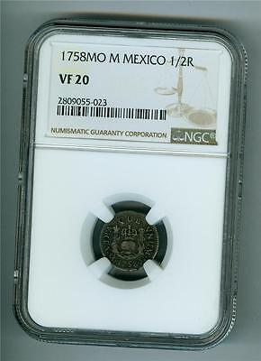Mexico 1758 Mo M 1/2 Real Ngc Vf-20