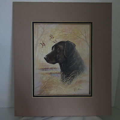 Black Lab Labrador Retriever Dog Print Ruane Manning Duck Hunting Donald Art Co