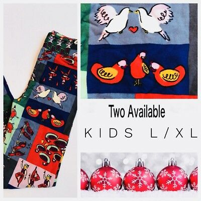 New Kids L/XL LuLaRoe Days Of Christmas Holiday Leggings Turtle Doves Swans Drum