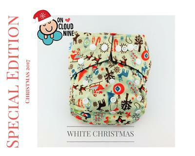 NEW CHRISTMAS EDITION - WHITE - Bamboo Charcoal Cloth Nappy Baby & 5Layer Insert