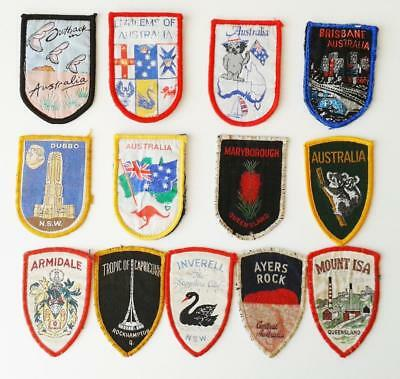 "AUSTRALIA SOUVENIR PATCHES BADGES BULK LOT x 13 different ""SEWN ON - USED"""