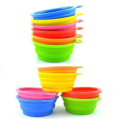 Silicone Bowl Water Dish Feeder Portable Collapsible Dog Cat Pet Travel Feeding