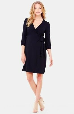 Ingrid and Isabel Dress black Wrap XS (broken inner button loop) A43