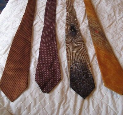 "Lot 4 1950's Men's Neckties 49""- 53"" L   2"" Wide  Cutter Trevira, Golds, Browns"