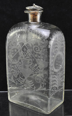 Antique Engraved Half Post Blown Glass Case Bottle circa 1830 As Is