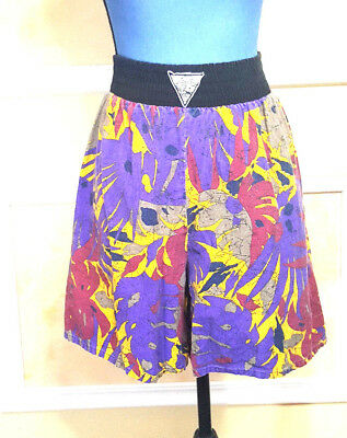 Vintage Women's 80's Hawaiian Floral Purple Shorts Size Medium